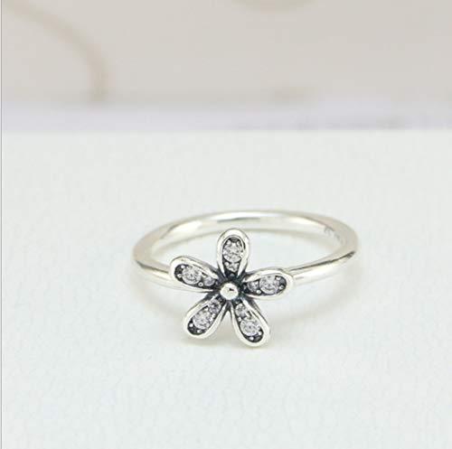 YOYOYAYA Ring 925 Sterling Silber Schmuck Flower Classic Daisy Exquisite Datum Einfachheit Mädchen Geburtstag Gedenken Geschenk Hochzeit Romance Fantasy