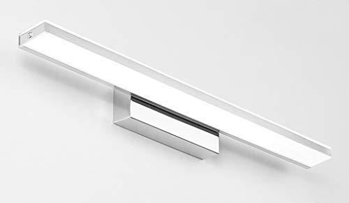 52 * 7.5CM Modern LED Spiegelleuchte bad Design Spiegellicht Edelstahl Hell Spiegellampen Acryl Badwandlampe Badezimmer schminkspiegel Warmes Licht IP 44 Chrom 12W 840LM [Energieklasse A++]