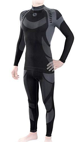 Sesto Senso® Uomo Intimo Termico Impostato Maglia a Maniche Lunghe T-Shirt Funzionale e Pantaloni Lunghi Funzionale Sottopantaloni Leggings Biancheria Intima Set Termoattivo (XL, Grigio)