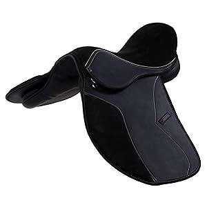 ACESEQUINE Synthesetische Allzweck-Sattel mit Wildledersitz mit weißen Nähten, importierte Qualität, Schwarz, Größe 16