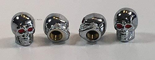 Ventilkappen Totenkopf chrom, 4 Stück, Skull, Farbe: silber, Ventil, Kappen wadle-shop ®
