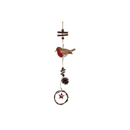 CGB Giftware Christmas Rotkehlchen Pinienzapfen Hänge-Dekoration (One Size) (Rot)