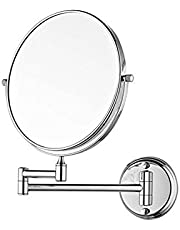 "VelKro Bathroom Mirror with 5X Magnifying Mirror & Wall Bracket with Adjustable Frame/8"" Makeup Mirror/Shaving Mirror - Silver"