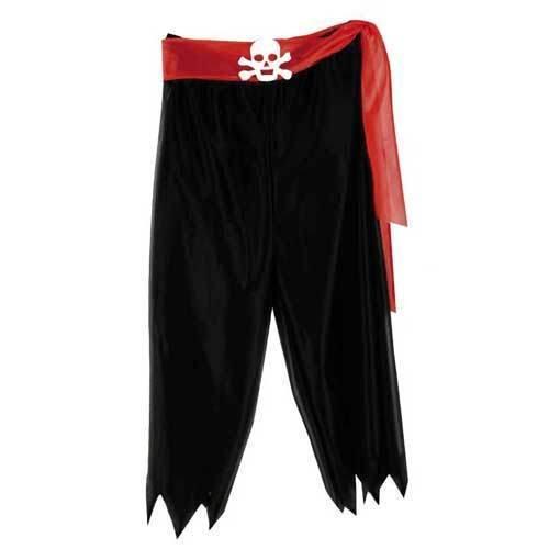 PARTY DISCOUNT ® Hose Pirat, schwarz mit rotem Gürtel, Gr. L