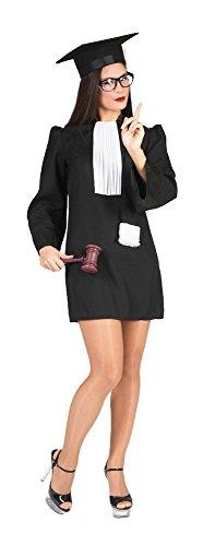 Funny Fashion Richterin-Kostüm für Damen schwarz-weiß M (Schwarze Richter Robe Kostüm)