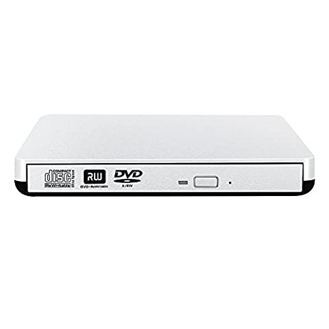 VersionTech The Latest External DVD Drive USB 3.0 Optical CD DVD Burner Superdrive for Mac Macbook Air Macbook Pro iMac Ultrabook and other Laptop, Silver