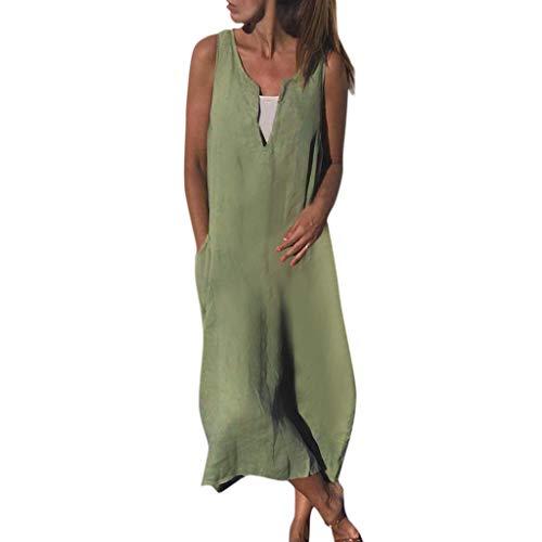 ge Kleidung Abendkleid Frauenkleid Kleid für Frauen Boho Sommerkleid Blusenkleider Lose Maxikleid Retro Groß Größe Leinen Baumwolle Kleider Strandkleid ()