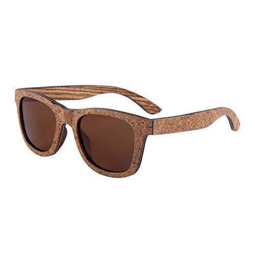 Zbertx Neue Frauensonnenbrille Kork-lamellierter hölzerner Rahmen-Sonnenbrille-Männer polarisiert,Braun