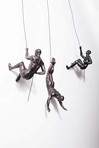 3x Große Bronze Klettern Abseilen Trio Hängen Ornamente Figuren Set von 3 Klettern Männer Wandbehang Figuren Abseilen Ornament Skulptur Wandkunst Harz und Metall Bungee Jumping Man Hanging on Wire