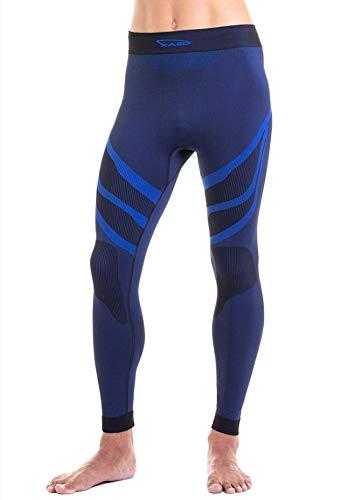 XAED - Pantalón térmico de esquí para hombre (negro/azul, mediano)