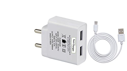 CableBasket Dual Usb 2.4amp Super Fast Charger for Mobile Phones,Smartphones with micro usb cable - Especially designed for big battery mah smartphones like Samsung MI nokia lenovo htc oppo vivo etc. dual usb charging support. BUY NOW.