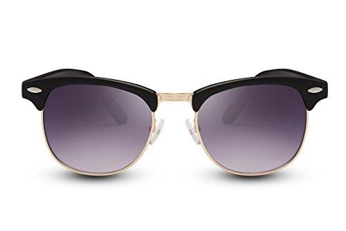 Cheapass Sonnenbrille Schwarz UV400 Gradient Gläser Grau Retro Vintage Rahmen Damen Herren