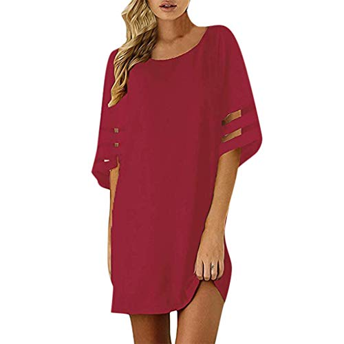 HULKY Frauen-beiläufiges Chiffon- Panel-Aufflackern-festes Spleiß-Ineinander greifen-Partei-Verein-Strand-Minikleid Elegant Loose Sommerkleider Damen(rot,S)