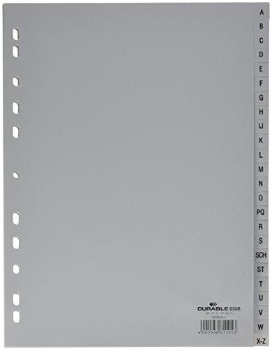 Durable 650810 Zahlenregister (Din A4, geprägte Taben A-Z, PP volldeckend) 10 Stück, grau
