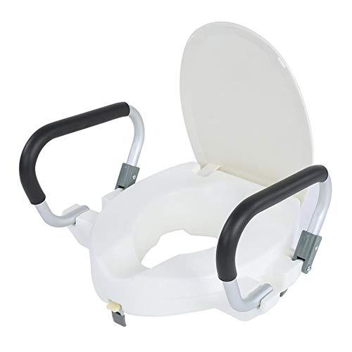 WuLien Toilettensitzerhöhung mit Armlehnen, Deckel, für Taillen- und Beinstörung/PE Umweltfreundliches Material Statische Belastung 150kg, für ältere Menschen, Behinderte