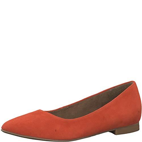 Tamaris Damen KlassischeBallerinas 1-1-22135, Frauen Flats,Sommerschuh,klassisch elegant,ORANGE,38 EU / 5 UK - Frauen Orange Schuhe Ballerinas