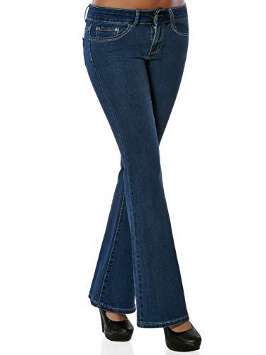 Damen High-Waist Boot-Cut Jeans DA 15921 Jeanshose Schlaghose Hose  Damenhose, Farbe 5ff166606b