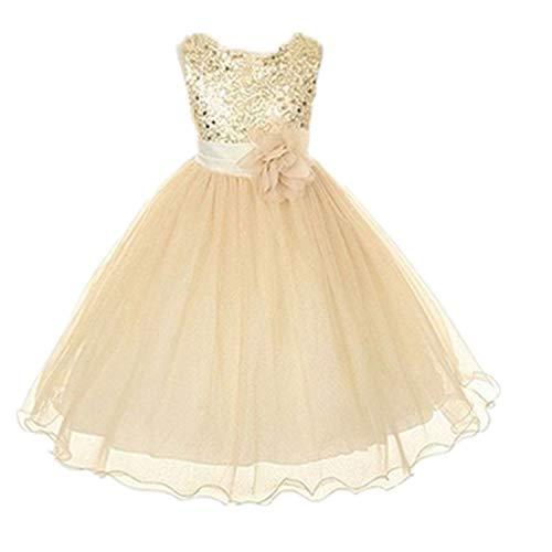 Live It Style It - Abito da principessa senza maniche, con paillettes e fiore, formale, per festa di nozze, damigella d'onore Gold 3-4 Anni