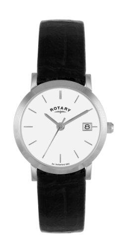 Rotary Timepieces - Reloj analógico de mujer de cuarzo con correa de piel negra