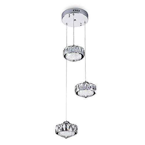 BEGRHT 3 Flammig 30w Led Pendelleuchte Pendellampe Moderne Kristall Hängeleuchte Höheverstellbar Kronleuchter Geeignet Für Wohzimmer Esstisch, Treppe, Schlafzimmer Deckenleuchte Hängelampe