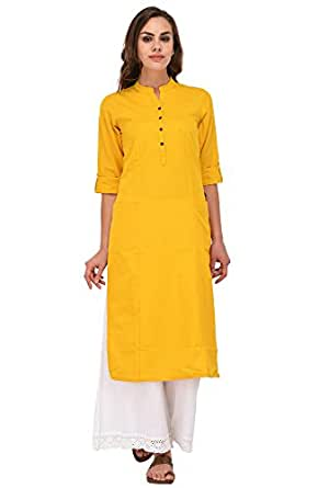 Pistaa women's Yellow Solid Cotton Kurta with two patch pockets & Plus Size