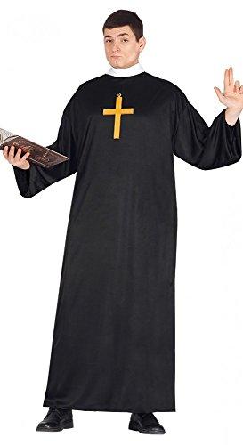 Herren Kostüm Priester inkl. Kreuz Pastor Geistlicher Pfarrer Verkleidung Karneval, Größe:L