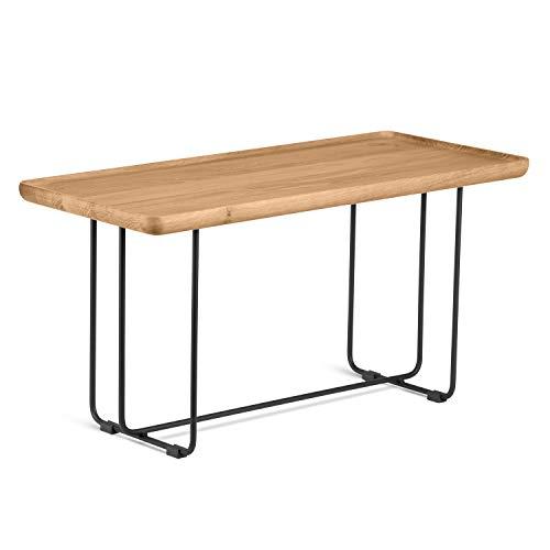 KAUTSCH Couchtisch aus Eiche massiv - Metall Drahtgestell in schwarz - Design Holztisch - Beistelltisch für Sofa