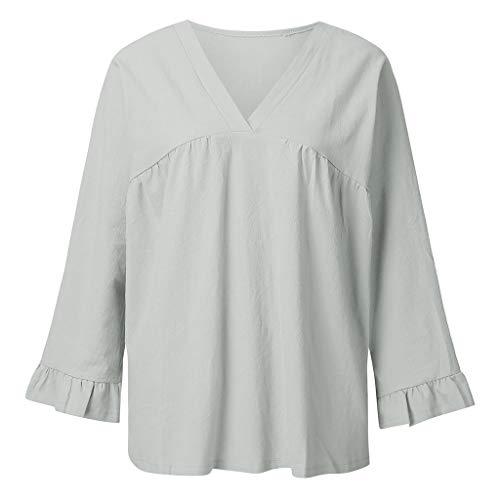 Tan Gold Flare (Epig Womens Clearance Kleidung Sommer V-Ausschnitt Falten Baumwolle Leinen Pure Color Casual Tops)