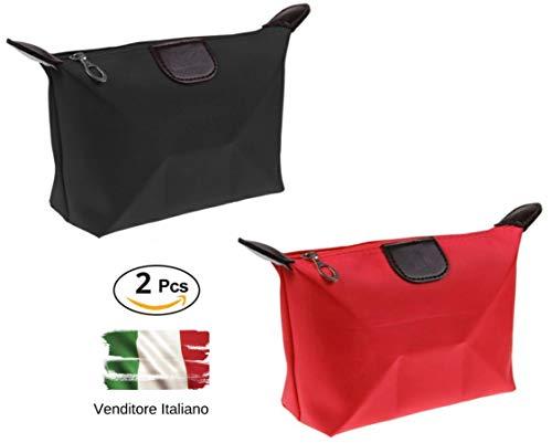 Set 2 Clutches Bags, Bunter Schönheitsfall, Beauty Case Von Der Reise, 2 Farben, DK Italien, Make-Up-Halter und Kosmetik, Tasche, Toilette, Federmäppchen