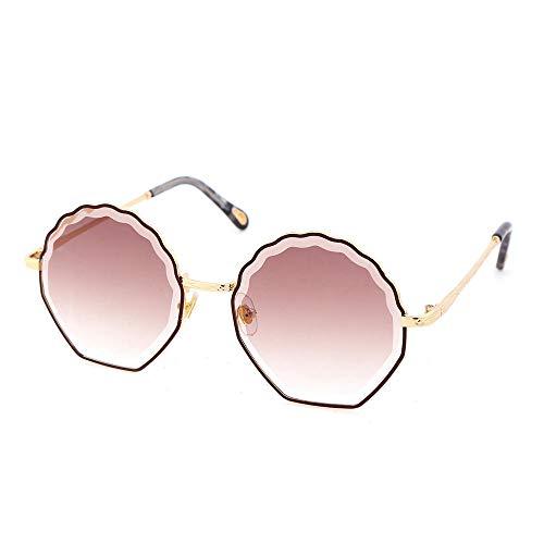 PPOEEWF Sonnenbrille, süße Mädchen Sonnenbrille, polygonale Persönlichkeit, Metall Sonnenschirm @ 金属 茶 茶 紫 紫