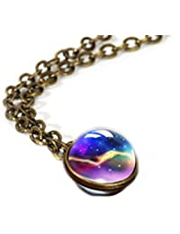 Nebulosa Galaxy Planet Universe Necklace Collana di pianeta cosmico Collar de sistema solar de doble cara de bola de cristal para las…