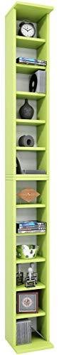 VCM - Scaffalatura in Legno con Sistema di archiviazione Bigol, in Grado di Contenere Fino a 204CD, Colore: Verde, Legno, Green, 183x21x20 cm