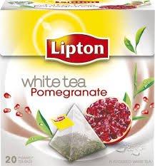 Lipton WHITE TEA POMEGRANATE Tea Bags - Sealed Boxes of 6 x 20 bags = 120 pyramid tea bags