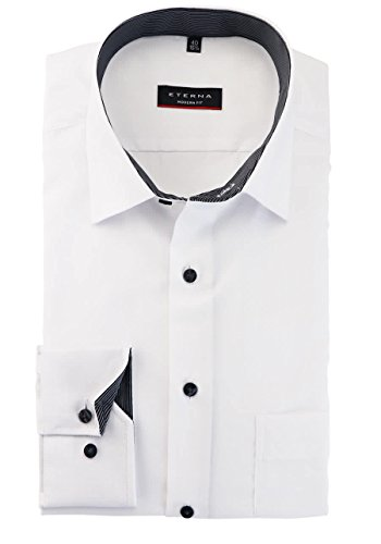 Eterna Long Sleeve Shirt Comfort Fit Pinpoint Uni Bianco/Nero