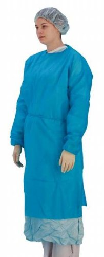 Premier Disposable Long Sleeve Exam Gown, Elasticated, Blue, 45 gsm, Pack of 50 Test