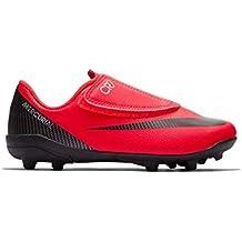 b49a4a0e3b2e0 Nike Botas de Futbol CR7 Mercurial Vapor 12 Club Suela MG con Velcro Roja  Niño