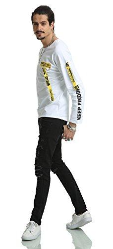 Pizoff Unisex Hip Hop Fake Two-Pieces Design Kapuzenpullover mit halbem Reißverschluss und Druckmuster AH026-White