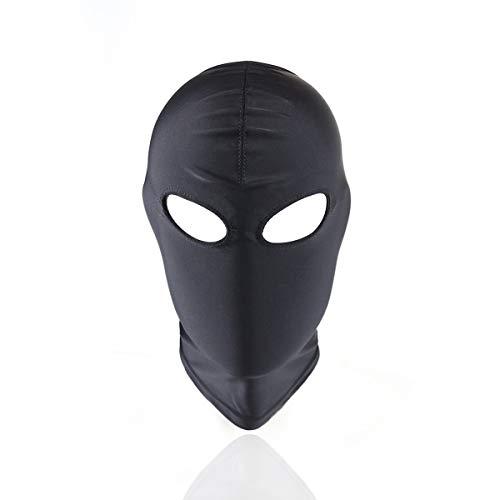 Schwarze atmungsaktive Gesichtsbedeckung Spandex Kostüm Haubenmaske Bondage Restraint Mask