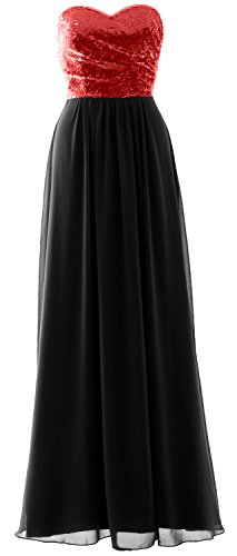MACloth Elegant Strapless Long Bridesmaid Dress Sequin Chiffon Party Formal Gown Red-Black