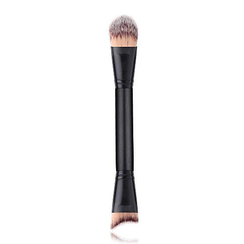 Pinceaux Maquillage,PoignéE en Bois Brosse Tampon SupéRieure Oblique SynthéTique pour Le Fond De Teint Liquide pour Le Visage Poils Synthetiques Doux Et sans Cruauté