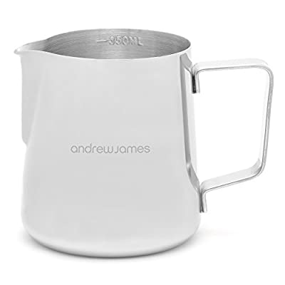 Andrew James Milk Jug, Frothing Milk Jug in Stainless Steel with Embossed Scale and Steady Pour Lip