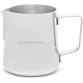 Andrew James Barista Milk Jug for Coffee Machine Use | Small Stainless Steel Metal Jug Ideal for Warming and Frothing Milk | Steady Pour Lip & Embossed Scale