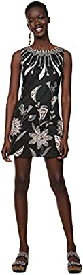 Desigual Dress Sleeveless Kira Woman Black Vestido, Negro 2000,  para Mujer