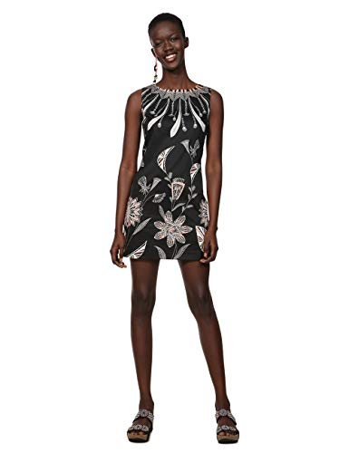 Desigual Damen Kleid Dress Sleeveless KIRA Woman Black, Schwarz (Negro 2000), 46