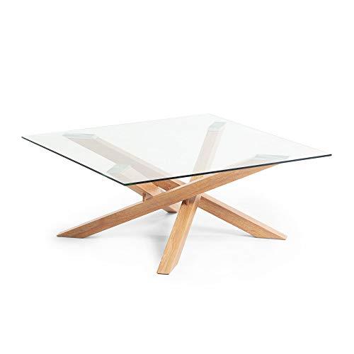 Table Basse carrée Kamido 90x90 cm Verre et Pieds métal Finition Bois