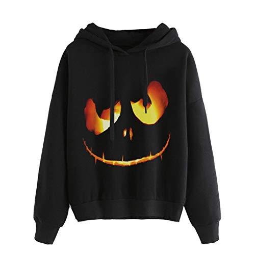CICIYONER Pullover für Frauen, Halloween Kürbis Teufel Sweatshirt Oberteile Kapuzenpullover Hemd Plus Größe (XXXL, Schwarz)