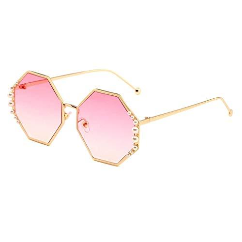 HQMGLASSES Damen-Sunglasses Designer-Pearl-Verschönerung Gold-Ton Frame Gradient Lens Shades Sonnenbrille für Driving/Holiday, UV 400 Schutz,01