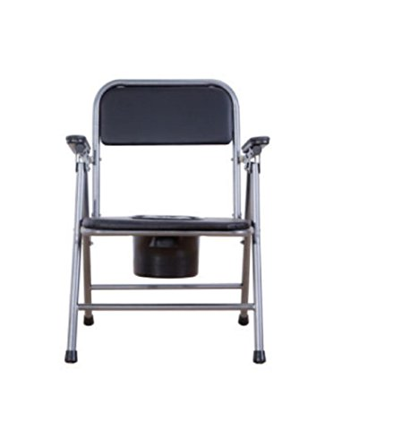 GAOFG Potty Stühle schwanger Behindertentoilette Klappstühle Medical Toilettenstuhl (schwarz Barrel) -