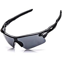 Ouken Gafas de Sol Marco Negro Gafas de Sol UV400 al Aire Libre a Prueba de Viento Gafas para Senderismo Pesca Caza, Gris Lente