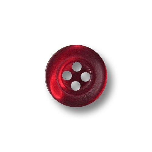 Knopfparadies - 15er Set kleine dunkel rot schimmernde Vierloch Blusen o. Hemden Knöpfe in Perlmutt Optik mit zwei Zierkreisen / perlmuttartig weinrot bis dunkelrot / Kunststoffknöpfe / Ø ca. 12mm